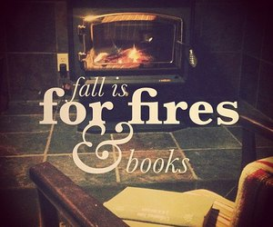 book, fall, and fire image