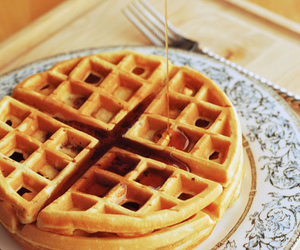 food, waffles, and syrup image