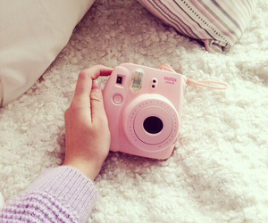 camera, girl, and instax image