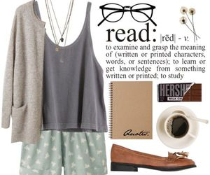 book, outfit, and Polyvore image
