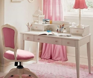 pink, girly, and desk image