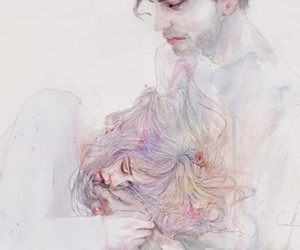 art, couple, and drawing image