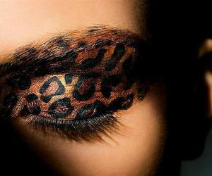 make up, leopard, and makeup image