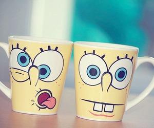 spongebob, cup, and yellow image