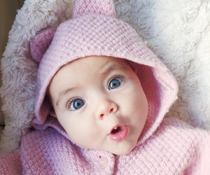 baby, eyes, and pink image