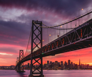 sunset, bridge, and travel image