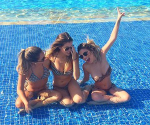friends, girl, and pool image