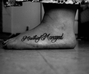 harry potter tattoo, mischief managed, and tatto image