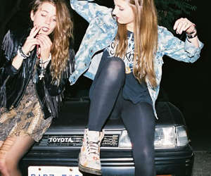 girl, car, and friends image