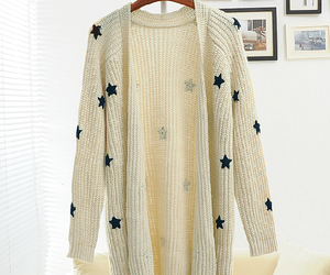 cardigan, knit, and star image