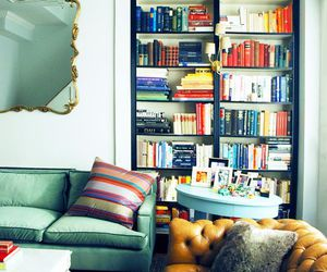 books, colour, and living room image