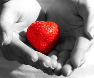 black and white, strawberry, and hands image