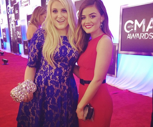 lucy hale, meghan trainor, and red dress image