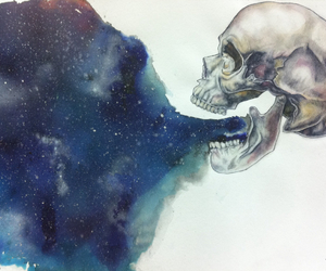 skull, art, and universe image