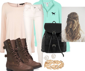 backpack, combat boots, and fall image