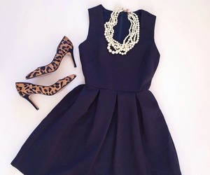 dress, leopard, and necklace image