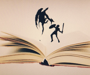 book, bookworm, and dragon image