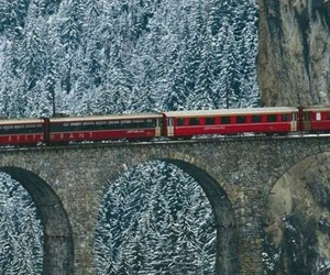 train, photography, and snow image