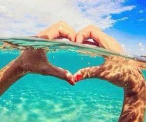 summer, heart, and sea image