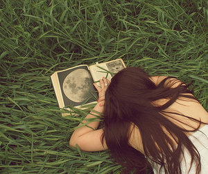 book, grass, and girl image