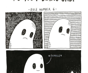 ghost, sad, and black and white image