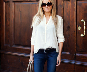 glasses, jeans, and street style image