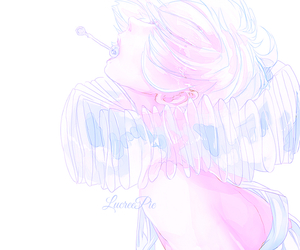 anime, pale, and pink image