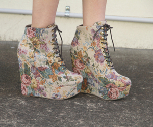 shoes, fashion, and floral image