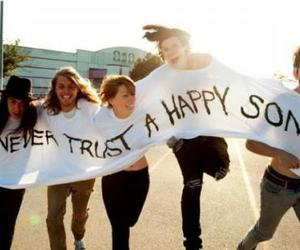 happy, grouplove, and song image