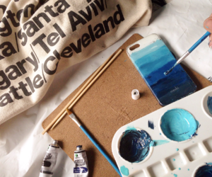 american apparel, blue, and paint image