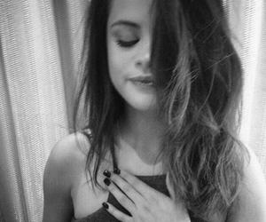 black and white and selena gomez image