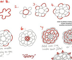 doodle, drawing, and red rose image