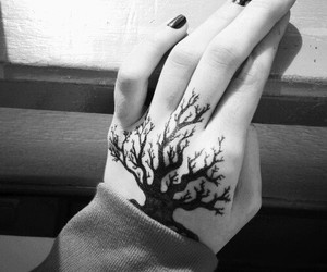 tattoo, tree, and hand image