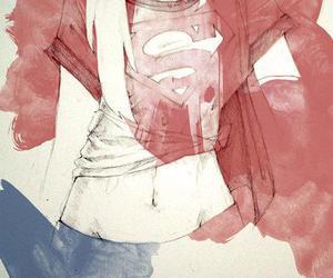girl, superman, and drawing image