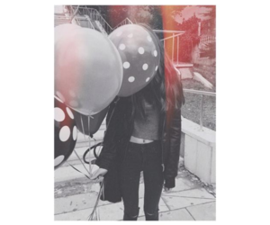 brunette, balloons, and fashion image