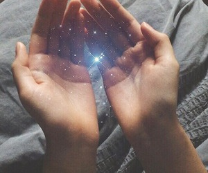 galaxy, hands, and lights image
