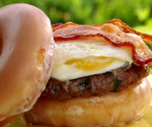 food, bacon, and donuts image
