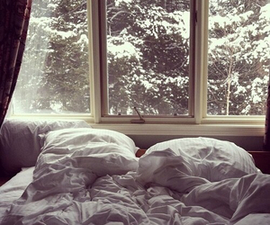 winter, bed, and snow image