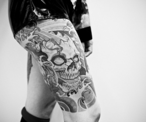 tattoo, black and white, and skull image