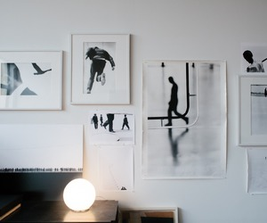art, black and white, and wall image