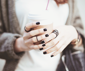 nails, coffee, and black image
