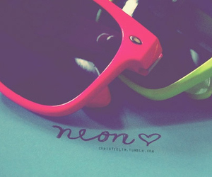 sunglasses, neon, and fashion image