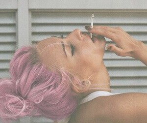 cigarette, girl, and messybun image
