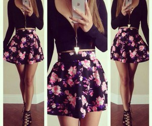 apple iphone, rose, and skirt image