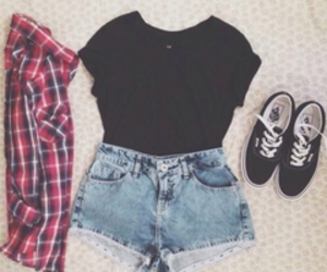 black t-shirt, jean short, and outfit image