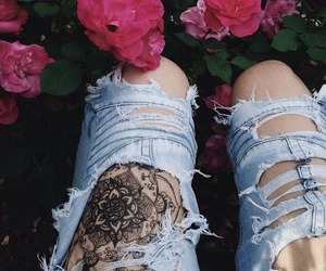 tattoo, jeans, and flowers image