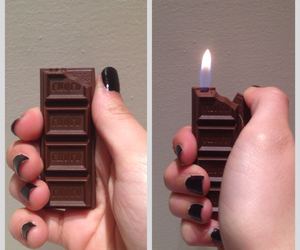 chocolate, fire, and lighter image
