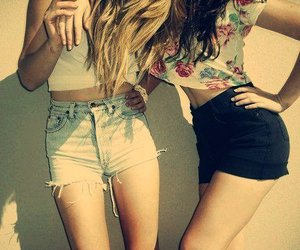 blonde, clothes, and brunette image