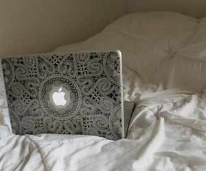 apple, bed, and laptop image