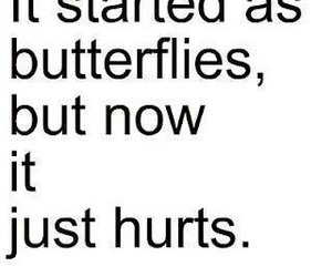 love, hurt, and butterfly image